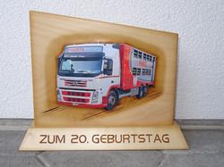 Tafel mit Lastwagen