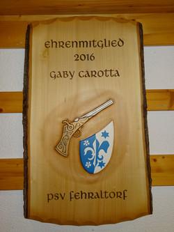 Tafel mit Vereinsmotiv PSV