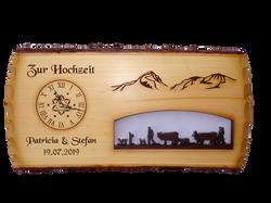Tafel mit ausgeschnittener Alpabfahrt