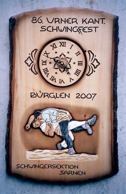 Tafel mit Uhr