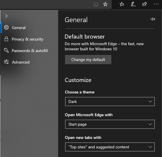 Microsoft edge dark mode on