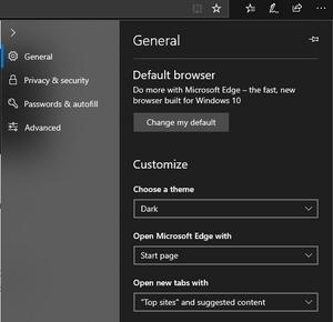 Microsoft edge dark mode on