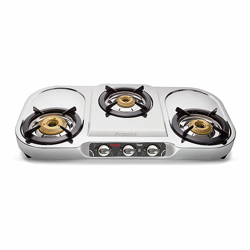 Open-Box & Refurbished (Unused) Preethi Topaz Stainless Steel 3-Burner Gas Stove