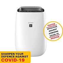 Sharp Air Purifier for Homes & Offices | Dual Purification - ACTIVE (Plasmacluster Technology) & PASSIVE FILTERS (True HEPA H14+Carbon+Pre-Filter) | Captures 99.97% of Impurities | Model:FP-J40M-W | White