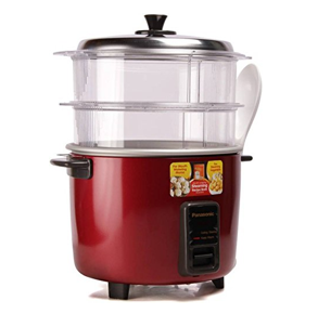Panasonic SR-WA18H (SS) Rice Cooker, Food Steamer (4.4 L, Mettalic Burgundy)