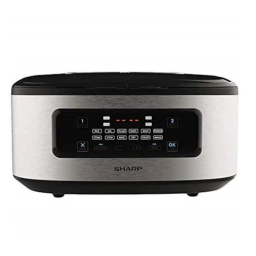 Sharp 900 Watt Dual Pot Twin Cooker (KN-TC50VI-SL, Black)