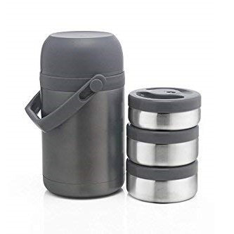 Refurbished Borosil Hot-N-Fresh Stainless Steel Insulated Lunch Box, Set of 3
