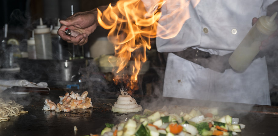 Hibachi teppanyaki style table food prep