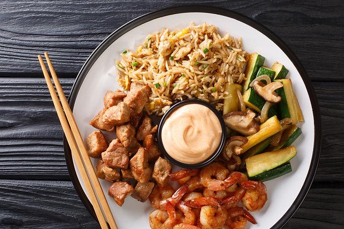 Japanese Hibachi recipe of rice, shrimp,