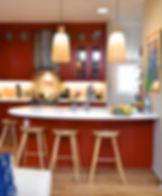 red kitchen in Boulder, CO in vintage home