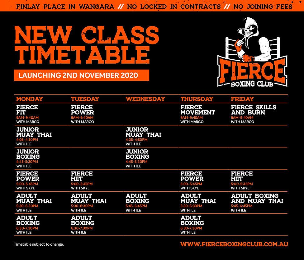 Fierce Timetable