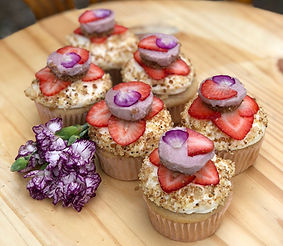 Strawberry #9 cupcakes topped with raw c