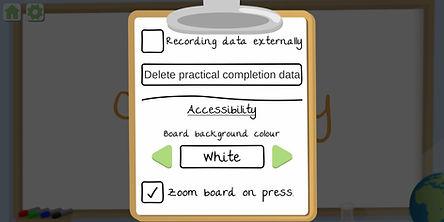 GCSE Practical Simulator settings zoomed