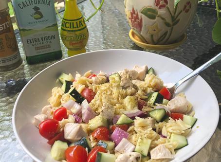 Meal Prep- Lemony Orzo Salad with Chicken