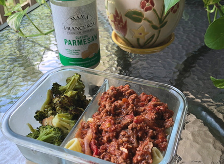 Meal Prep- Rigatoni with Meat Sauce and Broccoli