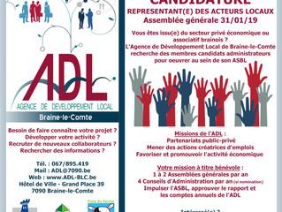 Appel à candidature - Nouveaux membres du CA et AG de l'ADL