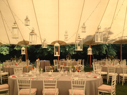 Lanterns hung in tent