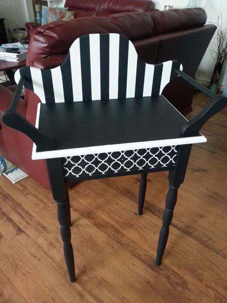 Black & White Striped Wash Stand