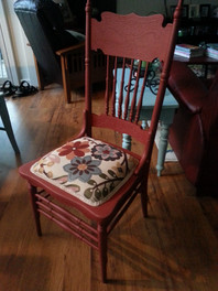 Red Chair with Flower Upholstery