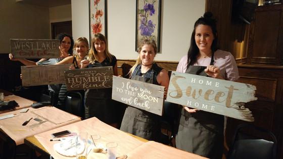 July's Sip & Dip Workshop -  Rustic Barn Board Signs