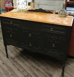 Black Dresser with Exposed Wood Top