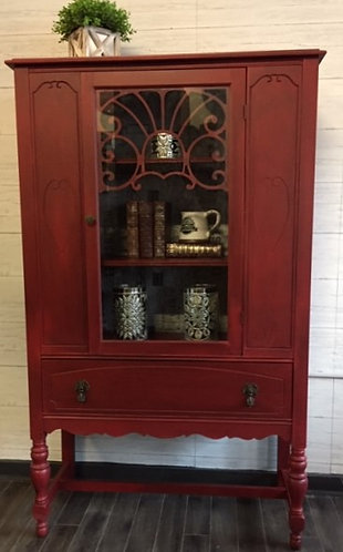 Red Hutch with Tissue paper Decoupaged Interior Wall