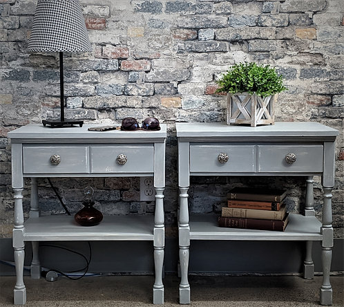 Pair of Pale Gray Nightstands