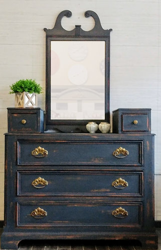 Five Drawer Dresser- Bi-level Top, with Wall Mirror