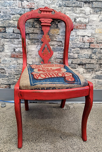 Rustic/Formal Chair with Authentic PEI Potato Sack Seat