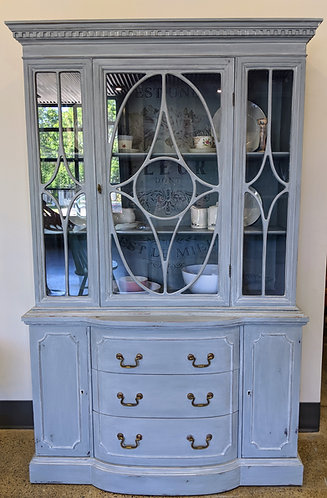 Painted Bow-Front China Cabinet