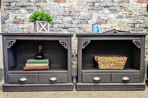 Side Tables with Shelf and Drawer