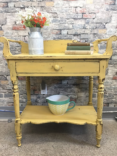Pretty Yellow Washstand/Occasional Table