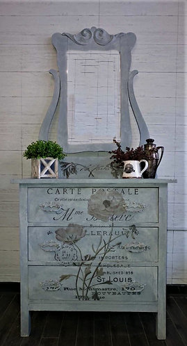 Mirrored Dresser with Floral Transfer