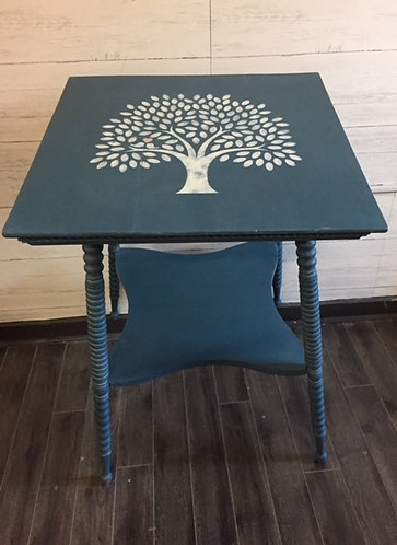 Blue Fern Table Stenciled with Tree of Life
