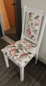 White Chair with Flower Upholstery