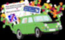 Illustration Simca 1000 pour invitation départ en retraite personnalisée