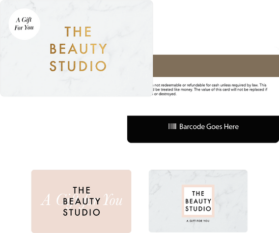 The Beauty Studio gift card designs