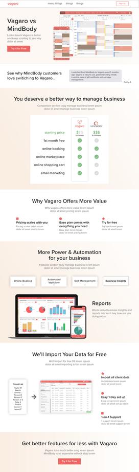 Vagaro vs Mindbody comparison landing page design