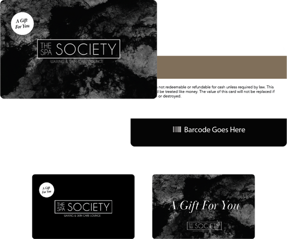 The Spa Society gift card designs