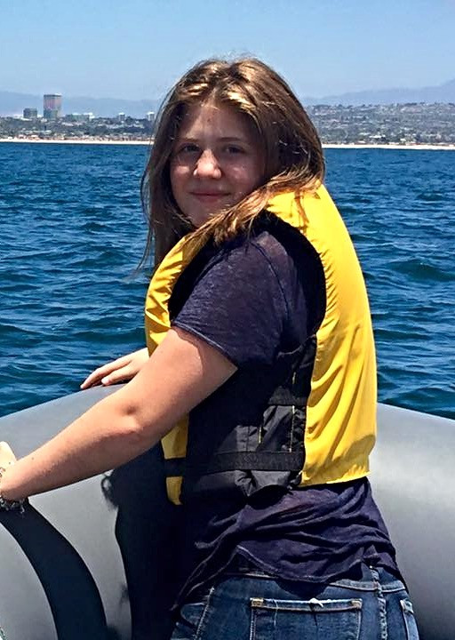 Lizzie enjoying herself on a whale-watching tour off Laguna Beach in July 2016.