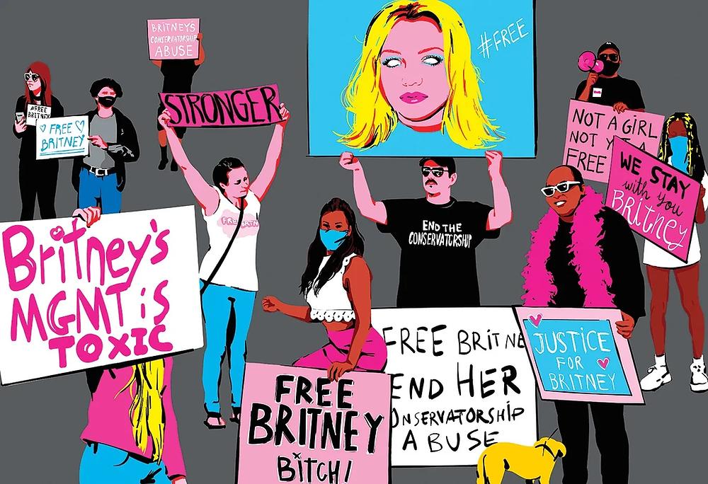 Η ψυχική ασθένεια συνδέθηκε με το κίνημα free britney όπου χιλιάδες θαυμαστές διαδηλώνουν για την ελευθερία της τραγουδίστριας
