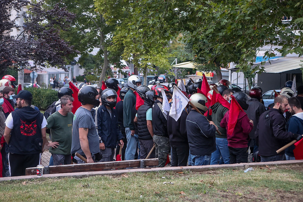 ομάδα αριστερών διαδηλωτών στην Σταυρούπολη