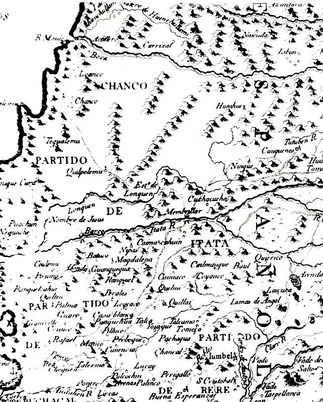 Tomas Lopez compuesto por el mapa manuscrito de Poncho Chileno, Madrid 1777
