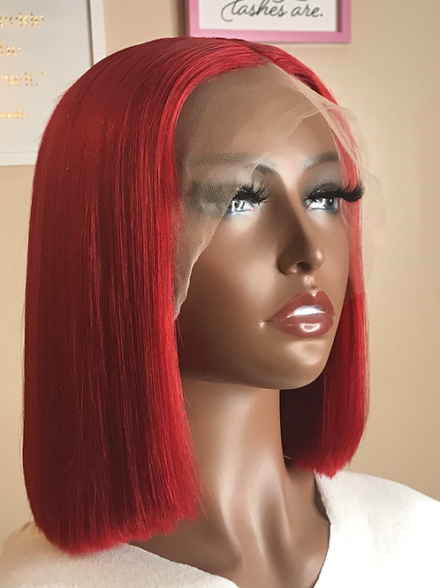 """""""Monica"""" 12"""" Red Lace Frontal Bob Wig"""