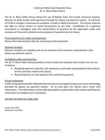 WG Rhea Public Library Credit and Debit