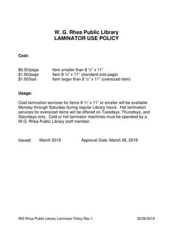 WG Rhea Public  Library Laminator policy
