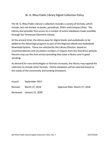 WG Rhea Public Library Digital Collectio
