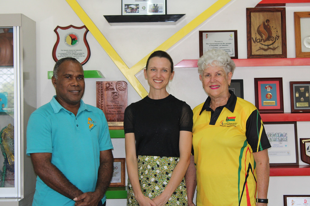 James Malau CEO of VASANOC;  Ms Clemency Oliphant, the Deputy High Commissioner of Australian High Commission and Margaret Macfarlane President of the VPC - @VASANOC