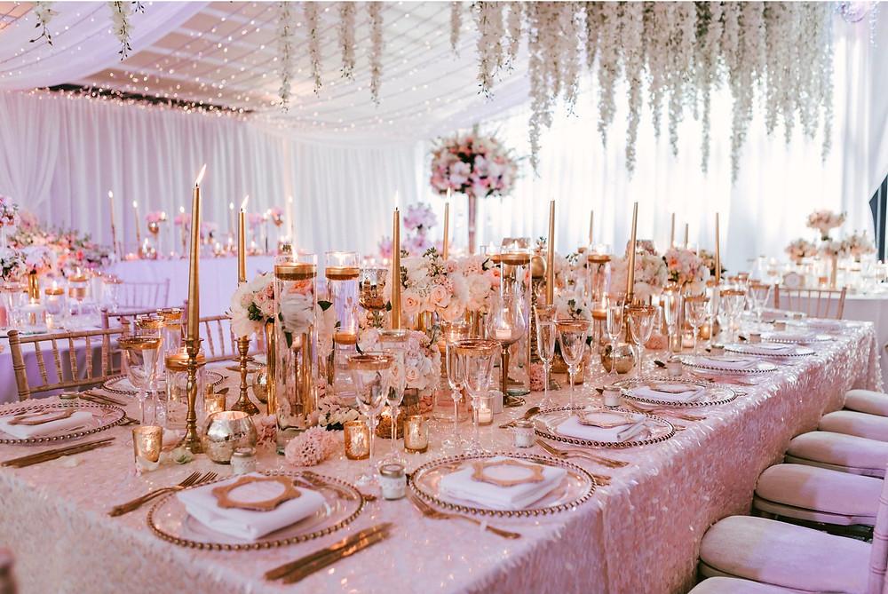Rose Gold & Pink Wedding Decor