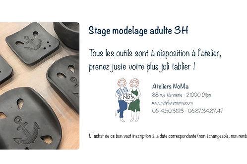 31 octobre 2020 - Stage MODELAGE adulte 3H